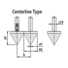 07CZA057 Mitutoyo Centerline Type Jaw - Metric for Series 552 Caliper