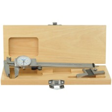 "52-008-700 0-6"" Whiteface Shockproof Dial Caliper / Depth Attachment Combo with Wooden Case"